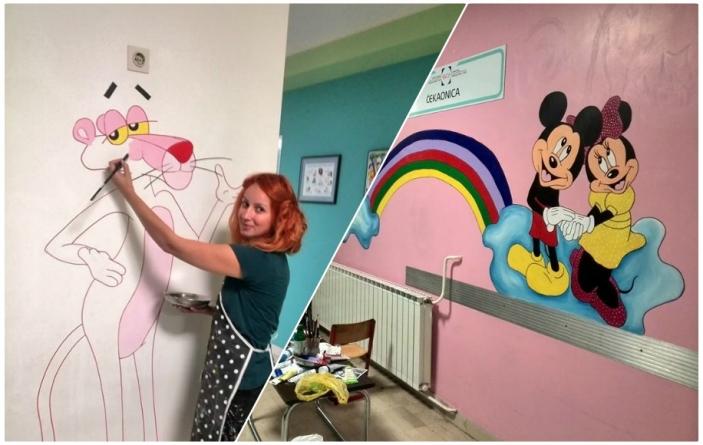 Mlada umjetnica oslikala zidove Klinike za dječije bolesti