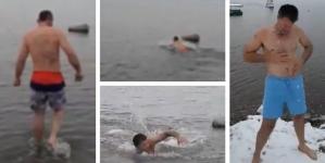Lukavčani zaplivali u ledenom jezeru Modrac i otvorili sezonu kupanja (VIDEO)