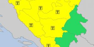 Upaljen žuti meteoalarm za veći dio BiH, potencijalno opasno vrijeme