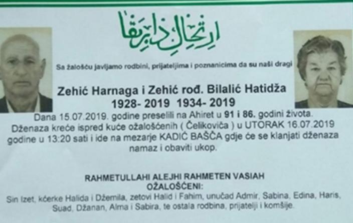 Bračni par iz Gradačca Harnaga i Hatidža Zehić umrli u razmaku od nepunih deset minuta