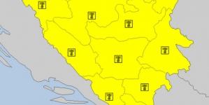 Upaljen žuti meteoalarm za područje cijele BiH