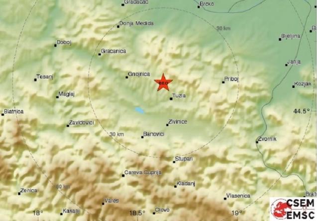 Tuzlu tokom noći pogodio novi zemljotres
