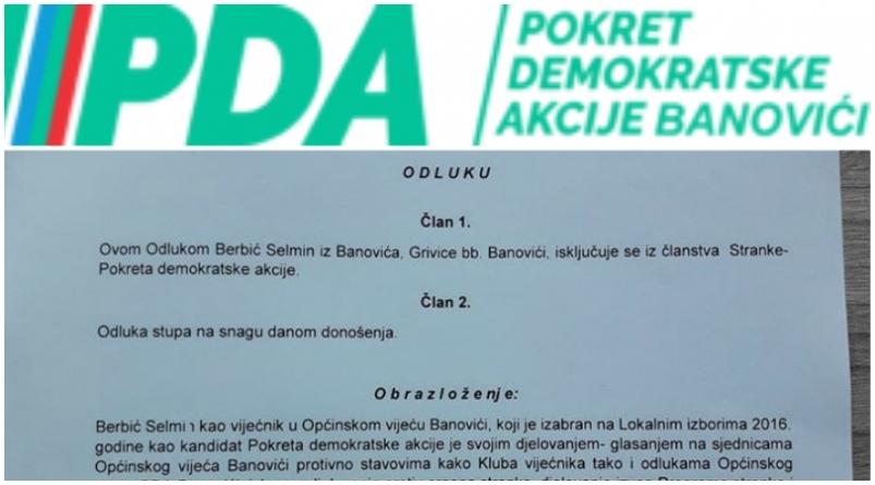 OO PDA Banovići: Selmin Berbić zbog povrede Statuta PDA BiH i nepoštivanja odluka isključen iz stranke 28. novembra ove godine