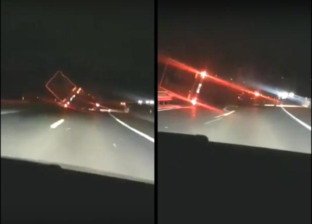 Drama na autoputu: Jak vjetar prevrnuo kamion
