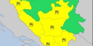 Za veći dio BiH upaljen žuti meteoalarm