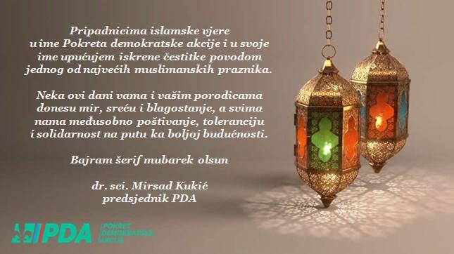 Bajramska čestitka predsjednika PDA Mirsda Kukića