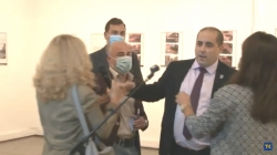 "Beograd: Incident na izložbi o masakru na ""Kapiji"""