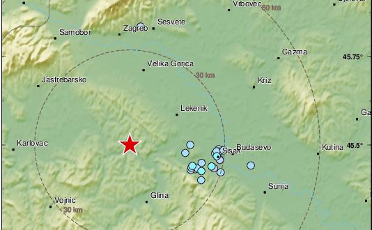 Novo podrhtavanje kod Petrinje: Tokom noći potres magnitude 3,2 po Richteru