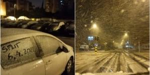 Historijska večer u Splitu, prvi put pao snijeg u aprilu